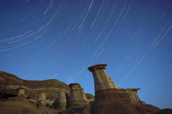 Star Trails over the Badlands
