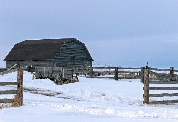 Old Wagon and Barn, March  2014