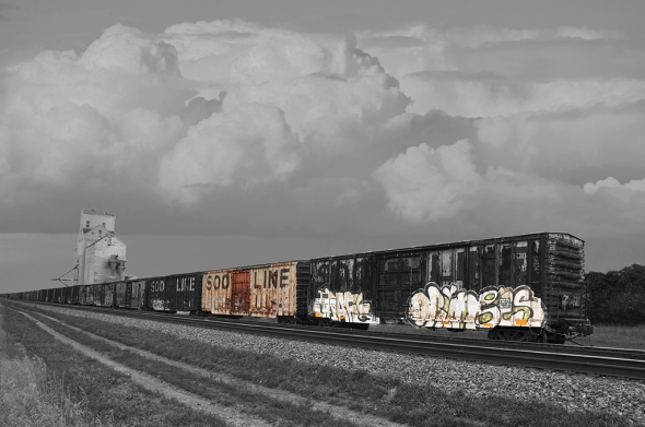 "Nikon D90, lens unknown, ISO 200, f5.0, 1/2500s. Soo Line by Bill Kruse: ""This shot is a combo of 2 images. I love this kind of train shot."""
