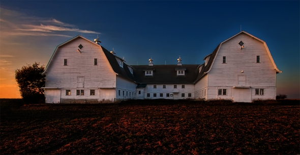 "Nikon D90, lens unknown, HDR image - no details available. ""White Barn at Sunset"" by Bill Kruse: ""Great outing with the club, this was a lot of fun!"""
