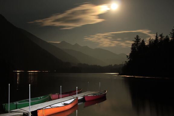 Light Painted Canoes at Griffin Lake BC Aug 28th/2015, settings were: Manual F/4, 30 sec, ISO100